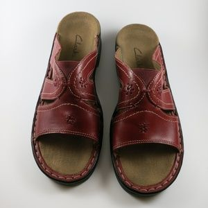 Clarks Red Leather Sandals Size 8M Sandler Wedges